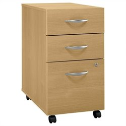 Bush BBF Series C 3Dwr Mobile Pedestal in Light Oak