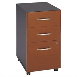 Bush Business Furniture Series C 3Dwr Mobile Pedestal in Auburn Maple