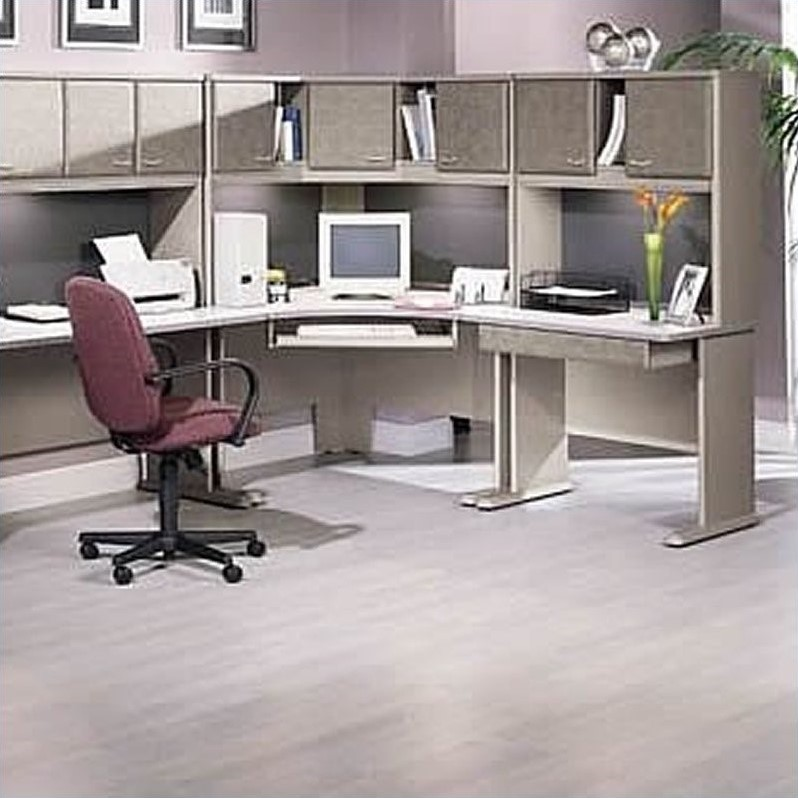 Bush BBF Series A Corner Wood Cubicle Set in White Spectrum and Pewter