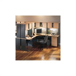 Bush BBF Series A 12-Piece Corner Desk Office Suite with Hutches in Beech