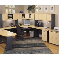 Bush BBF Series A 5-Piece U-Shape Corner Desk Set in Beech