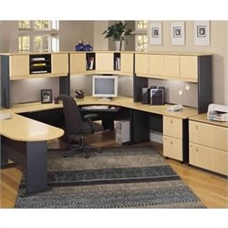 Bush BBF Series A 6-Piece U-Shape Corner Computer Desk in Beech