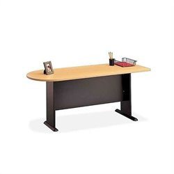 Bush BBF Series A 4-Piece L-Shape Desk with Hutch in Beech