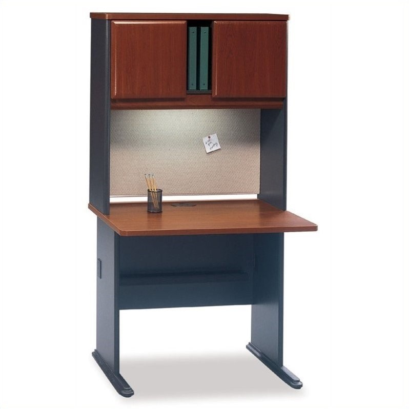 Bush BBF Series A Wood Office Cubicle with Hutch in Hansen Cherry
