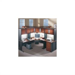 Bush BBF Series A Hansen Cherry Corner Office Desk Cubicle Set