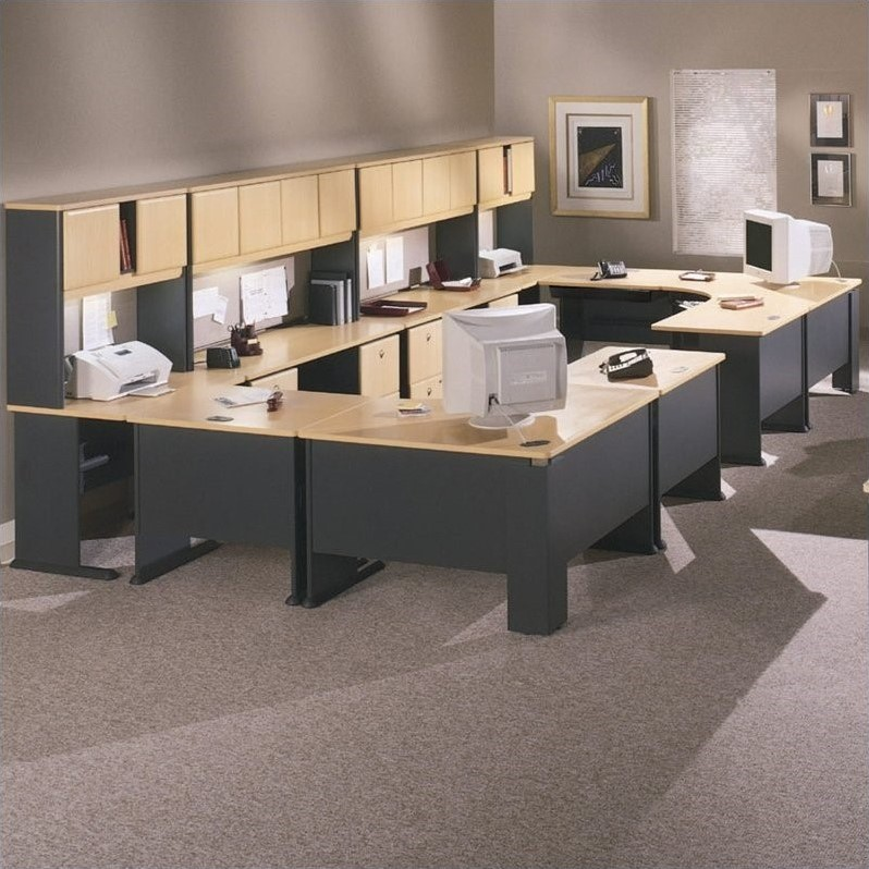 Bush BBF Series A 18-Piece Office Suite in Beech