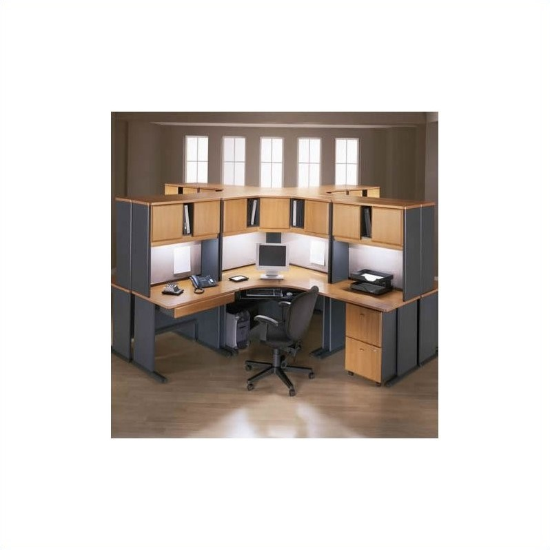 Bush BBF Series A 28-Piece Workstation Desk Set in Natural Cherry