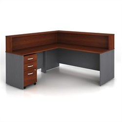 Bush BBF Series C 4-Piece L-Shape Reception Computer Desk in Hansen Cherry