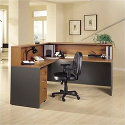Bush BBF Series C L-Shape Reception Desk with Hutch in Auburn Maple