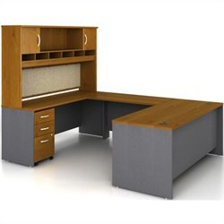 Bush BBF Series C 5-Piece U-Shape Credenza Desk with Hutch