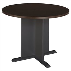 Bush BBF Round 3.5 Wood Conference Table in Mocha Cherry