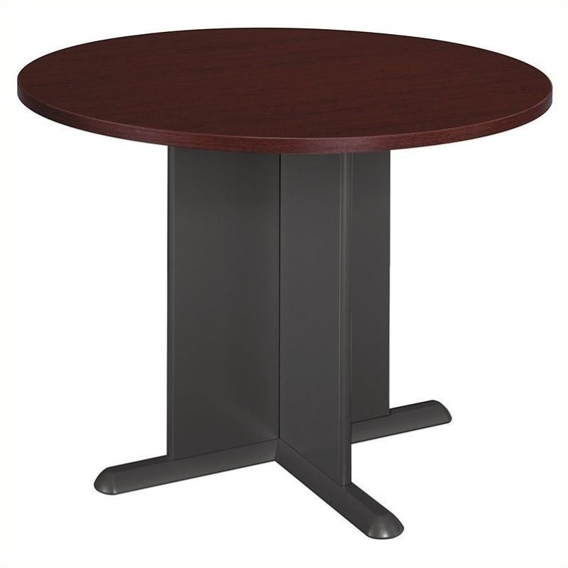 Bush BBF Round 3.4 Conference Table with X-Shaped Base in Mahogany