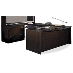 Bush BBF Series C 3-Piece U-Shape Bow-Front Corner Desk in Mocha Cherry