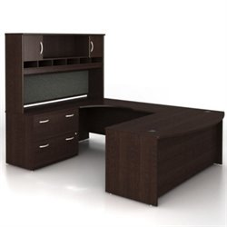 BBF Series C 4-Piece U-Shape Bow-Front Desk Set in Mocha Cherry