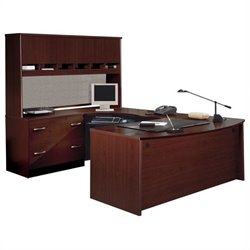 Bush BBF Series C Executive U-Shape Wood Desk in Mahogany
