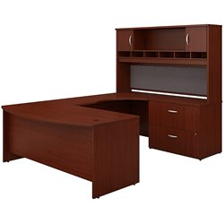 Bush BBF Series C 4-Piece U-Shape Right-Hand Corner Desk Set in Mahogany