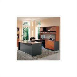 BBF Series C 4-Piece Right-Hand U-Shape Desk in Auburn Maple