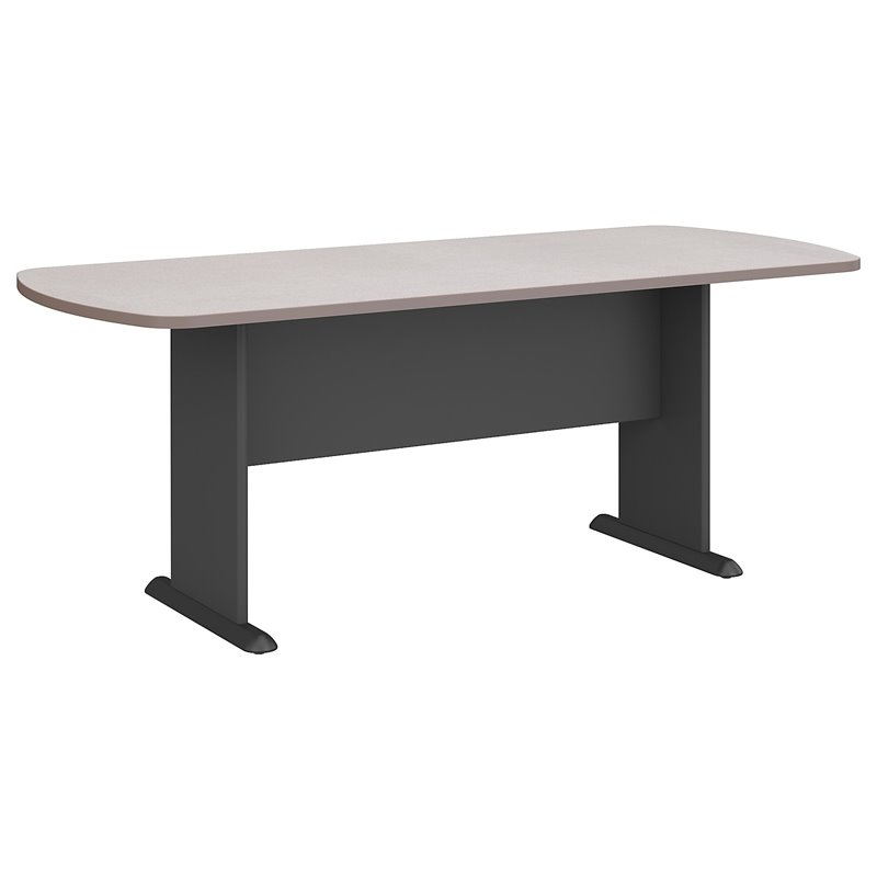 Bush BBF Racetrack 6.9 Conference Table with Slab Base in White Spectrum and Pewter