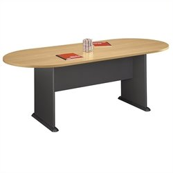 Bush Business Furniture Racetrack Conference Table in Light Oak