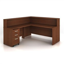 BBF Series C 4-Piece L-Shape Computer Desk in Mahogany