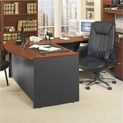 Bush BBF Series C Right L-Shape Wood Executive Desk in Auburn Maple