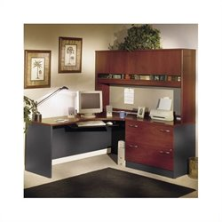 BBF Series C L-Shape Wood Desk with Hutch in Hansen Cherry