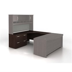 Bush BBF Series C Left-Hand L-Shaped Desk with Lateral File in Mocha Cherry