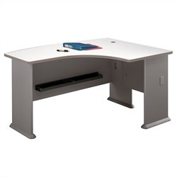 Bush Business Furniture Series A 60W x 44D RH L-Bow Desk in Pewter