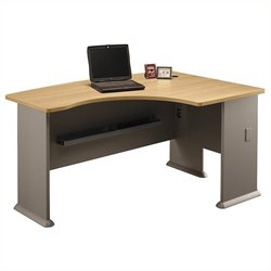 Bush Business Furniture Series A 60W x 44D RH L-Bow Desk in Light Oak
