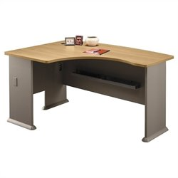 Bush Business Furniture Series A 60W x 44D LH L-Bow Desk in Light Oak