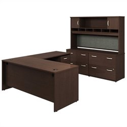 Bush BBF Series C 6-Piece L-Shape Desk Set in Mocha Cherry