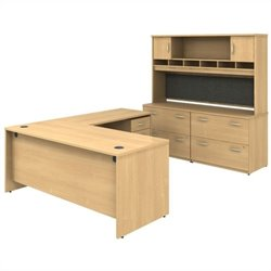 Bush BBF Series C 6-Piece L-Shape Desk Set with Cabinets in Light Oak