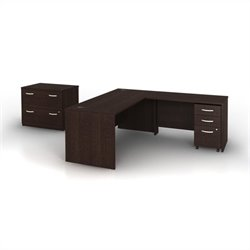 Bush Business Series C 4-Piece L-Shape Computer Desk in Mocha Cherry