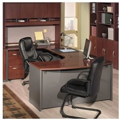Bush BBF Series C 5-Piece U-Shape Bow-Front Desk Set in Hansen Cherry