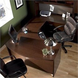 BBF Series C 4-Piece Right-Hand U-Shape Bow-Front Desk in Mocha Cherry