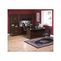 BBF Series C 6-Piece U-Shape Bow-Front Desk Set in Mocha Cherry