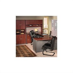 BBF Series C 7-Piece U-Shape Bow-Front Desk Set in Hansen Cherry