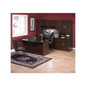 BBF Series C 6-Piece U-Shape Right Bow-Front Desk Set in Mocha Cherry