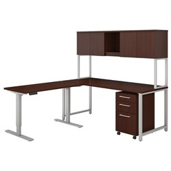 BBF 400 Series L-Shaped Desk with Adjustable Table and Hutch