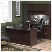 BBF Series C 4-Piece U-Shape Right Bow-Front Desk Set in Mocha Cherry