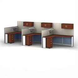 Bush Business Furniture Office-in-an-Hour Hansen Cherry Cubicles for 3