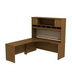 Bush BBF Series C 72W x 24D LH L-Shaped Desk with Hutch in Warm Oak