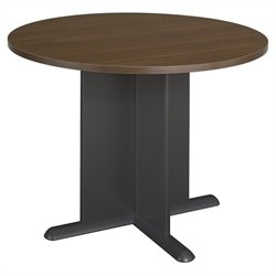 Bush Business Furniture Round 3.4 Conference Table in Sienna Walnut