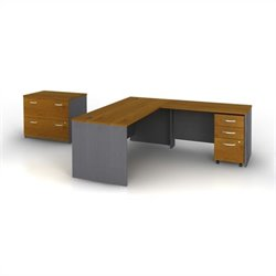 Bush BBF Series C 4-Piece L-Shape Computer Desk in Natural Cherry