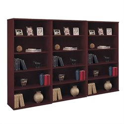Bush BBF Series C 5 Shelf 3 Piece Wall Bookcase Set in Mahogany