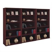 BBF Series C 5 Shelf 3 Piece Wall Bookcase Set in Mahogany
