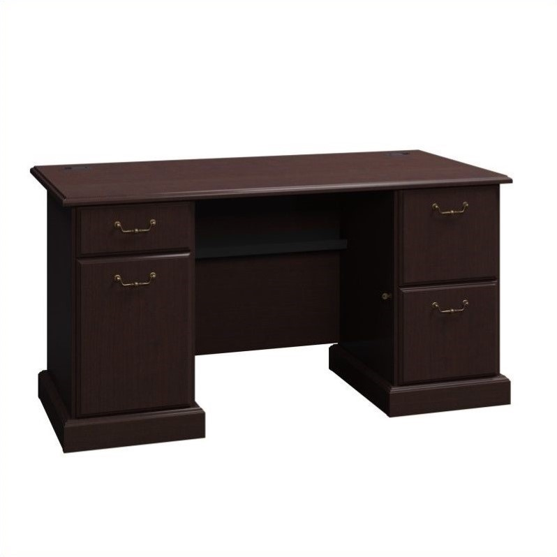 Bush BBF Syndicate 60W x 30D Double Pedestal Desk in Mocha Cherry