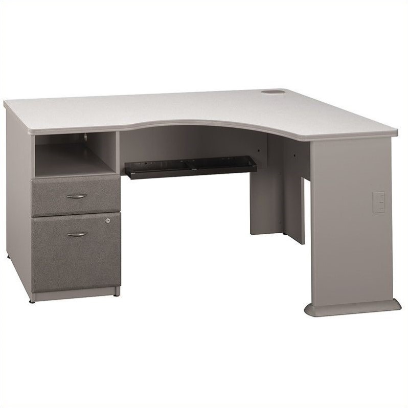 Bush BBF Series A 2Dwr Pedestal Corner Desk in Pewter