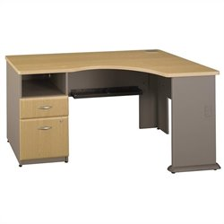 Bush BBF Series A Expandable Single 2Dwr Pedestal Corner Desk in Light Oak