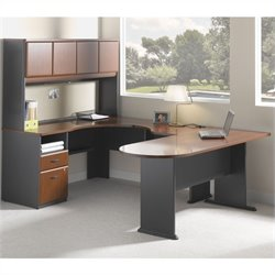 BBF Series A 4-Piece Wood Corner Computer Desk in Hansen Cherry